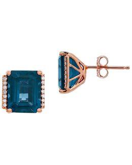 London Blue Topaz, Diamond & 14k Rose Gold Stud Earrings