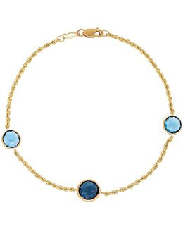 Swiss Blue Topaz, London Blue Topaz & 14k Yellow Gold Bracelet