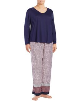 Plus Knit Top And Border Printed Crepe De Chine Pajama Set