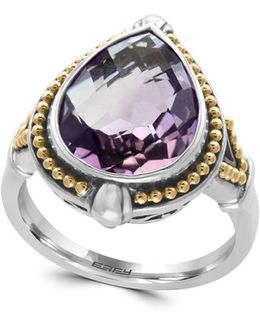 925 Teardrop Amethyst, 18k Yellow Gold And Sterling Silver Ring