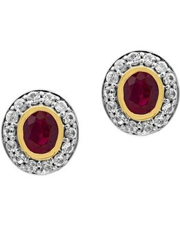 White Sapphire, Ruby, 18k Yellow Gold And 0.925 Sterling Silver Stud Earrings