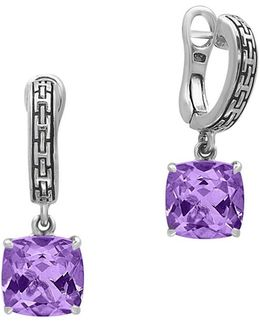 Amethyst And 0.925 Sterling Silver Drop Earrings