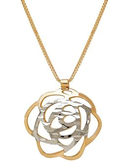 14k Italian Gold Flower Pendant Necklace