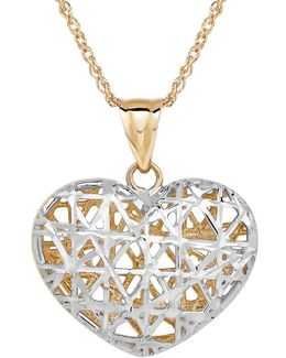 14k Yellow-gold Filigree Heart Pendant Necklace