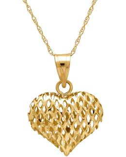 14k Gold Perforated Heart Pendant Necklace