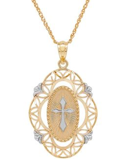 14k Yellow-gold Openwork Cross Pendant Necklace