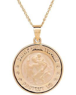 14k Yellow-gold Christopher Medallion Pendant Necklace