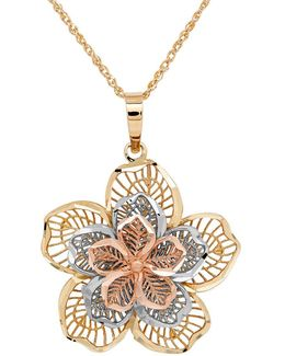 14k Gold Perfectina Flower Pendant Necklace