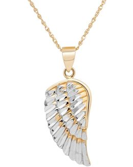 14k Yellow-gold Angel Wing Pendant Necklace