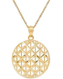 14k Gold Woven Disc Pendant Necklace