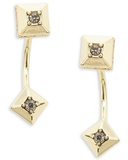 Lyra Stone-accented Fron-back Earrings