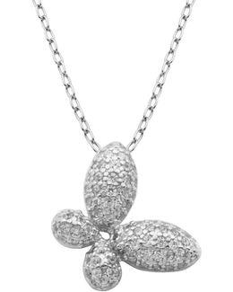 Cz & Sterling Silver Butterfly Pendant Necklace