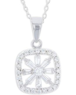 Cubic Zirconia And Sterling Silver Paved Open Square Pendant Necklace