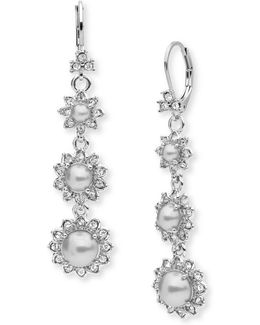 Pearl And Crystal Linear Drop Earrings