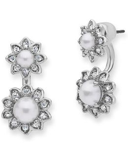 Pearl And Crystal Floater Earrings