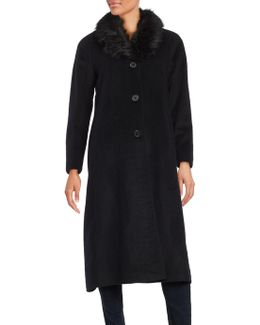 Faux Fur-trimmed Long Peacoat