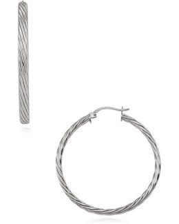 Sterling Silver Twist Hoop Earrings - 1.5in