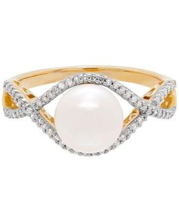8mm - 8.5mm White Freshwater Pearl, Diamonds And 14k Yellow Gold Ring