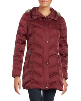 Quilted Faux Fur-trim Hooded Jacket