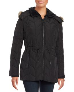 Faux Fur Trimmed Hooded Quilted Coat