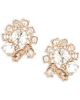 Crystal Cluster Button Stud Earrings