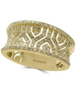 Diamond & 14k Yellow Gold Puzzle Band Ring