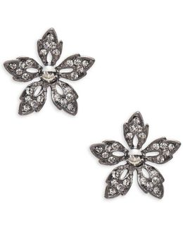 Crystal Pave Gunmetal Flower Stud Earrings