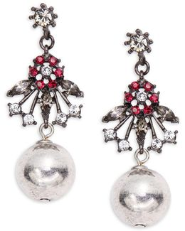 Floral And Ball Accented Drop Earrings
