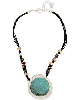 Femme Petal Patina Pendant Corded Necklace