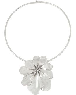 Sculptural Flower Pendant Wire Collar Necklace