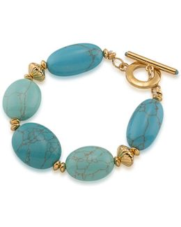 Paradise Found Reconstituted Turquoise 14k Goldplated Bracelet