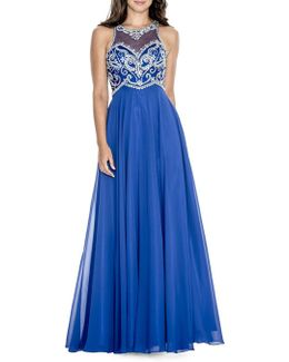 Bead-embellished Flowy Gown