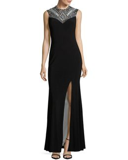 Beaded And Sequined Sheath Gown