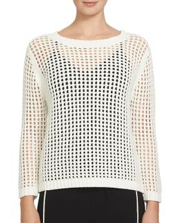 Long Sleeve Chunky Pointelle Sweater