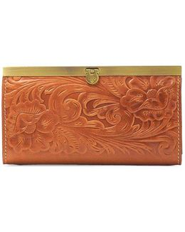 Cauchy Floral Embossed Leather Wallet