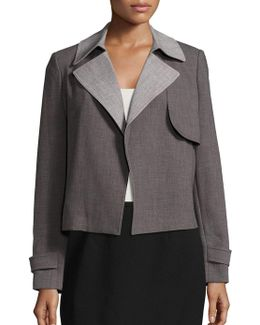 Collared Open-front Jacket