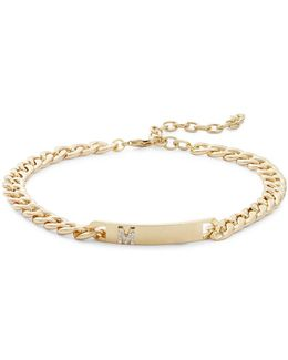 M Initial Id Choker Necklace