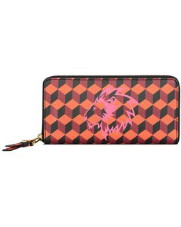 Graphic Faux Leather Zip Around Wallet