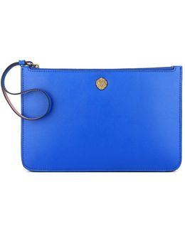 Zip-up Faux Leather Wristlet