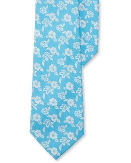 Floral Printed Cotton-blend Tie