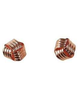 14k Rose Gold Grooved Love Knot Button Earrings