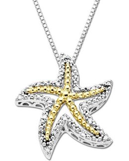 Diamond Starfish Pendant In Sterling Silver With 14k Yellow Gold