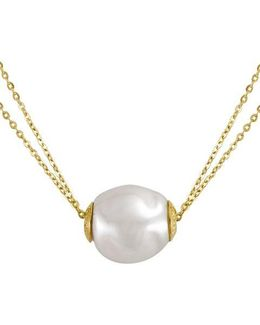 18kt Gold Vermeil And Pearl Double Strand Necklace