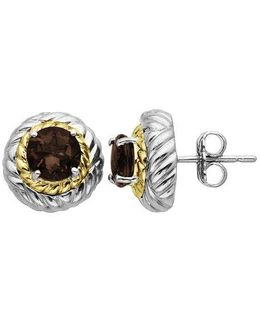 Smoky Quartz Earrings In Sterling Silver With 14k Yellow Gold