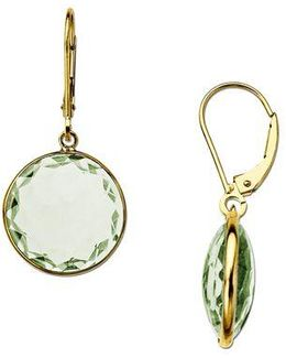Green Amethyst Drop Earrings In 14 Kt. Yellow Gold