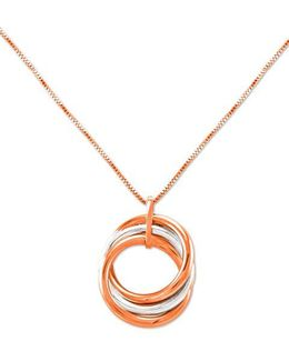 14k White And Rose Gold Circle Pendant