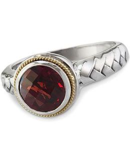 Balissima Garnet Ring In Sterling Silver With 18 Kt. Yellow Gold