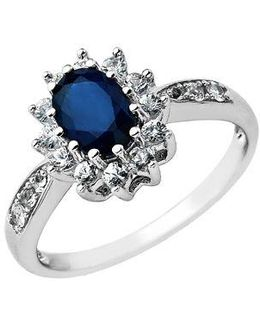 Sapphire Ring In 14 Kt. White Gold