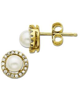 Freshwater Pearl Earrings With Diamond Accent In 14 Kt. Yellow Gold 6mm