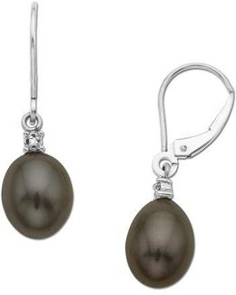 Black Pearl Drop Earrings With Diamond Accent In 14 Kt. Yellow Gold .01 Ct. T.w. 8 Mm